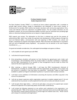 PBSC Student Agreement Form - Osgoode Hall Law School