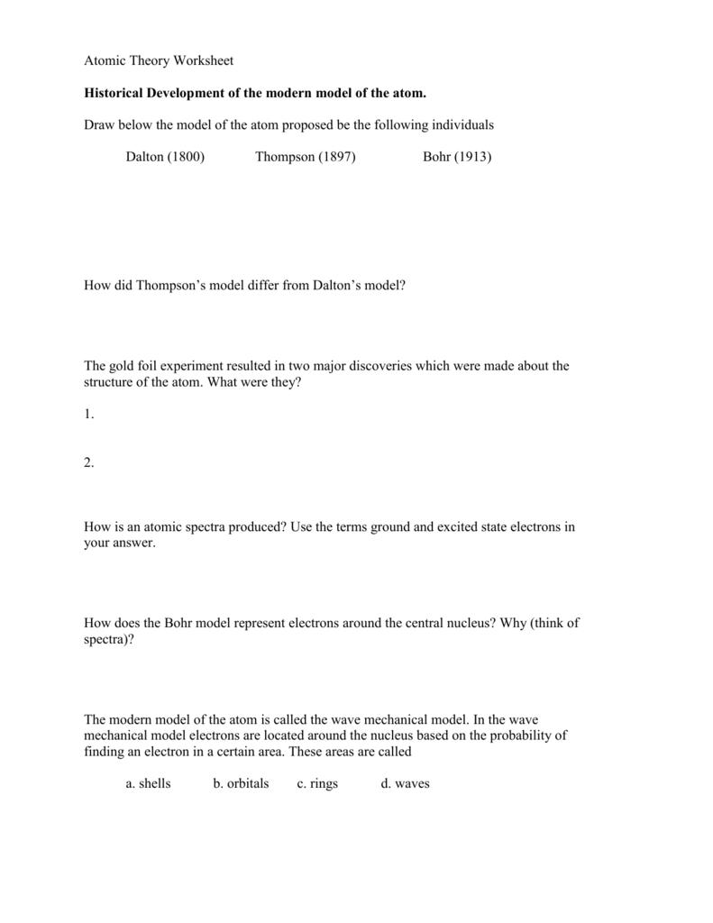 worksheet Atomic Theory Worksheet Answers atomic theory worksheet