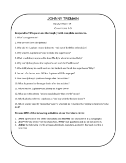 Johnny Tremain Literature Questions