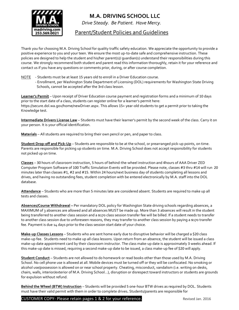 Parent/student Policies and Guidelines