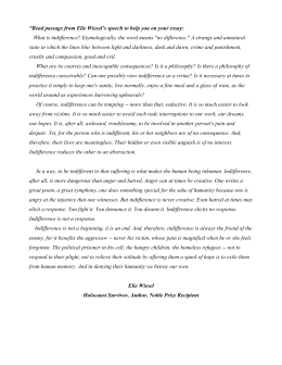 the perils of indifference rdquo by elie wiesel  passage from elie wiesel`s speech to help you on your essay