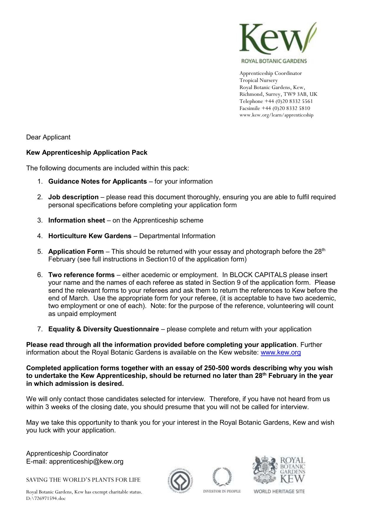 application form - Royal Botanic Gardens, Kew