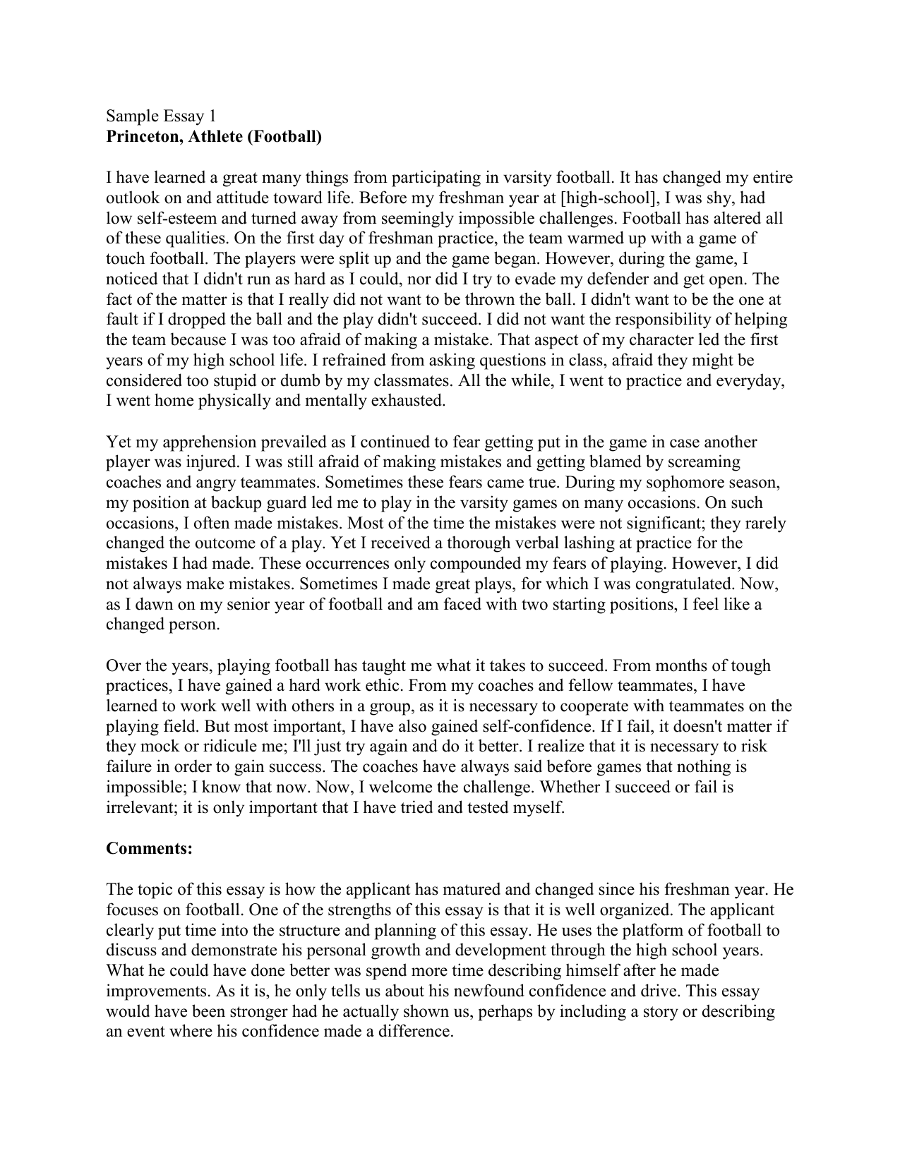 Essay For Health  Example Essay Thesis Statement also English As A Second Language Essay College Essay Unit Sample Essay  Princeton Athlete  Thesis Of A Compare And Contrast Essay