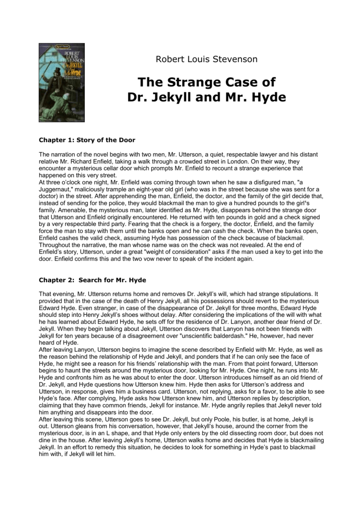 the strange case of dr jekyll and mr hyde summary
