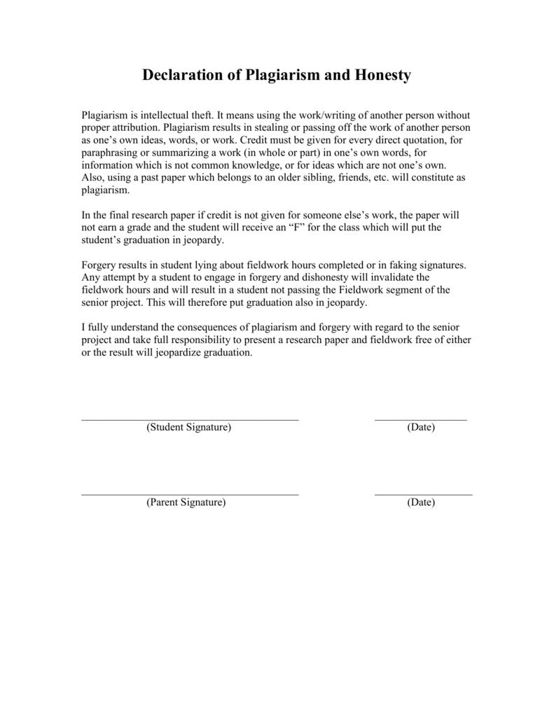 Dissertation plagiarism declaration
