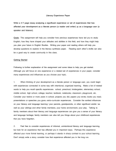 Literacy Experience Paper