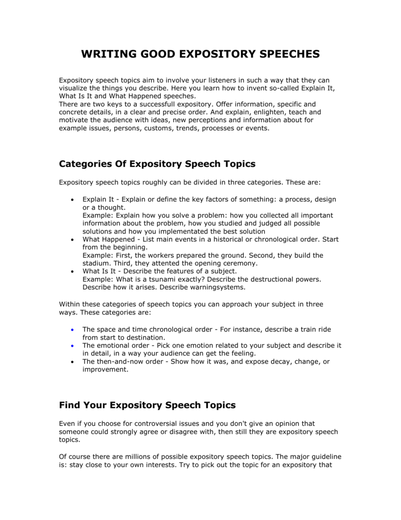 expository speech topics