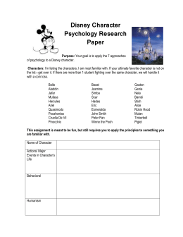 Disney Character Psychology Research Paper