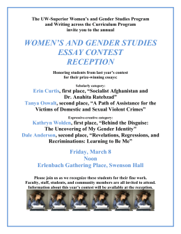 Women`s and Gender Studies Essay Contest Reception