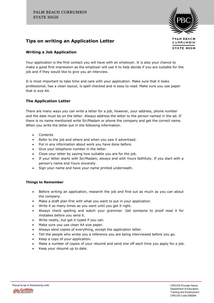 Application Letter Tips DOC 336 KB