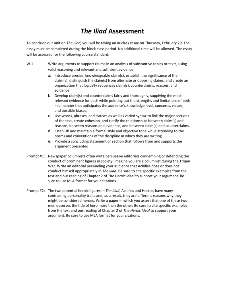 Computer Science Essays  Health Awareness Essay also Business Essay Example The Iliad Assessment To Conclude Our Unit On The Iliad You Will Be Essay Thesis Example