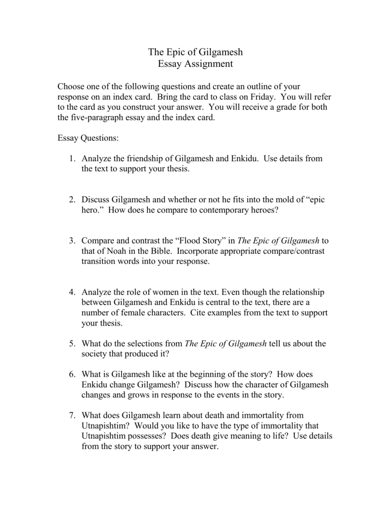 The Epic Of Gilgamesh Essay Questions  Term Papers And Essays also Examples Of Essay Proposals  English Essay Samples