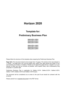 Horizon 2020 Template for: Preliminary Business Plan GALILEO