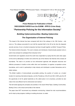 Press Release for Building Cybercommunities: Beating Cybercrime