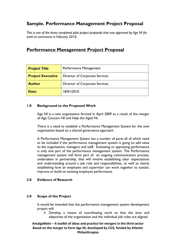 Sample Performance Management Project Proposal