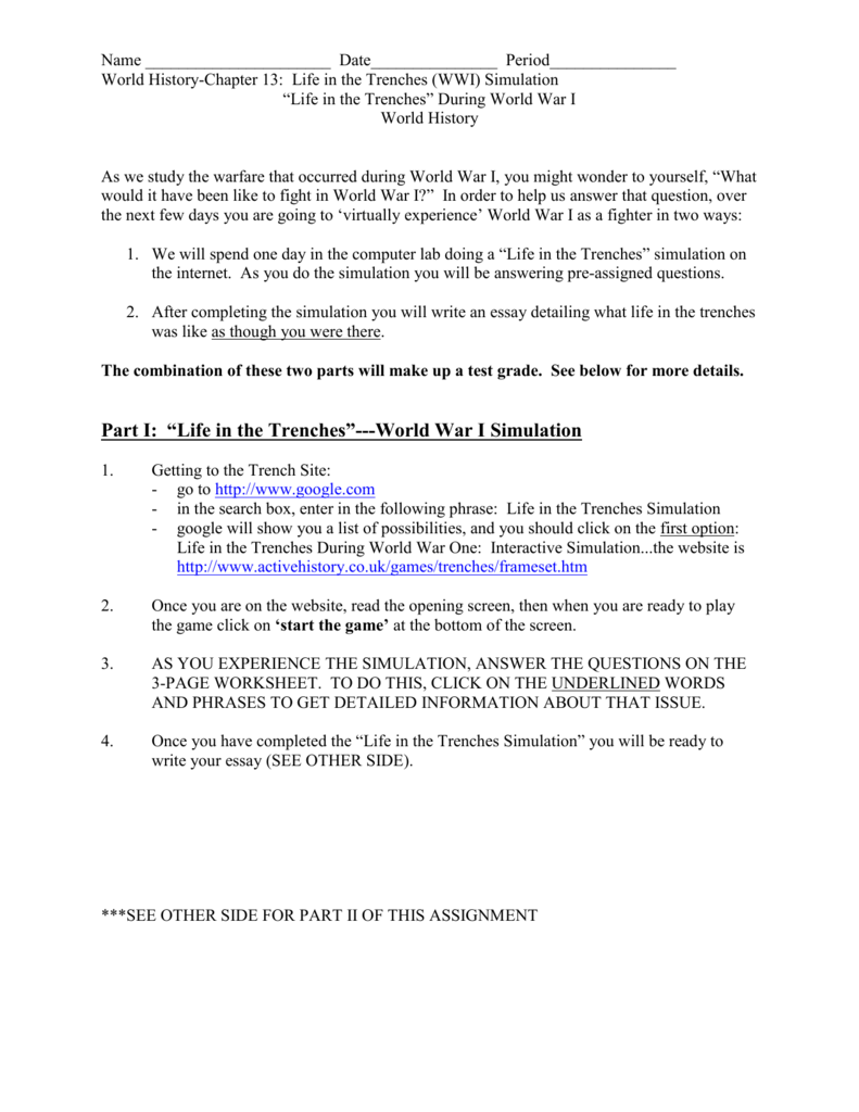 Life in the Trenches During World War I – Trench Warfare Worksheet