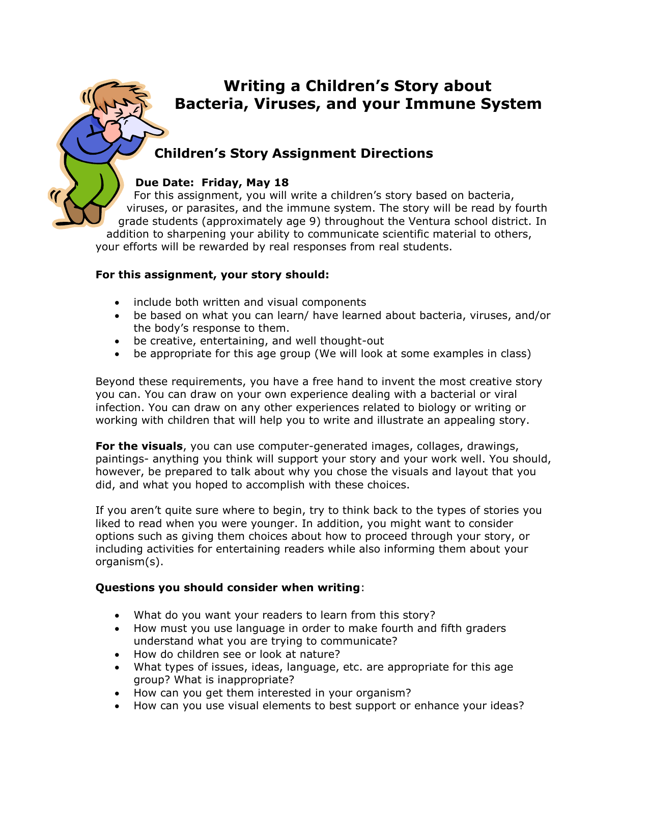 Writing a Children`s Story about Bacteria and Viruses