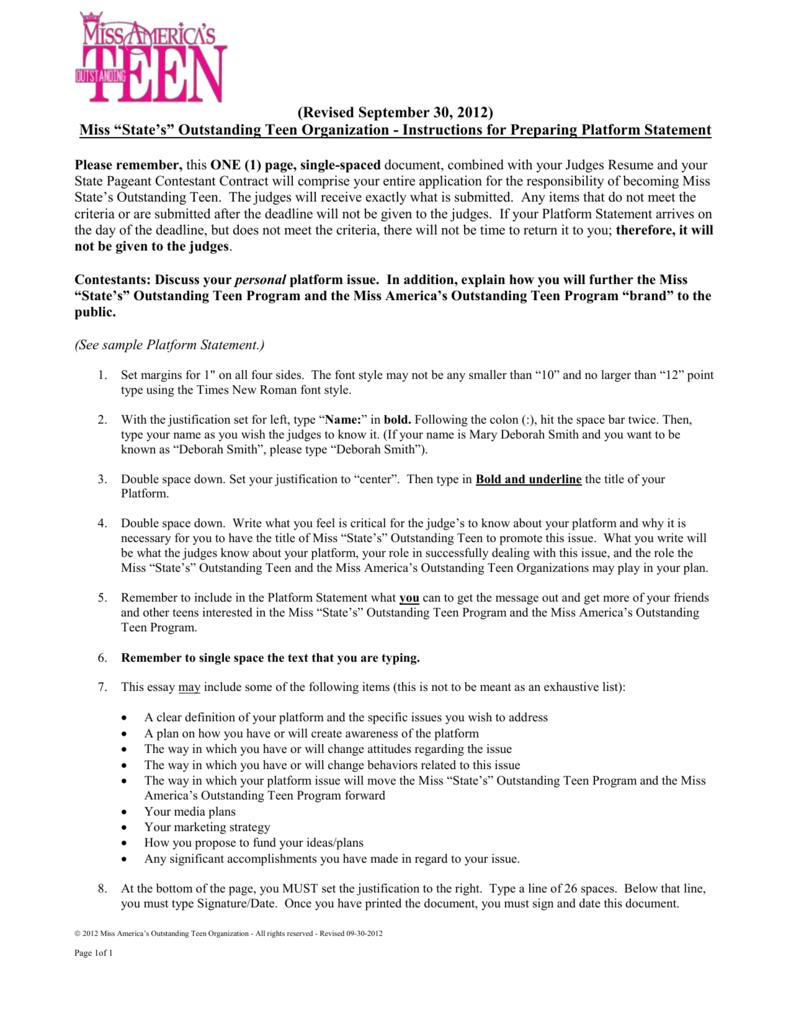 state pageant platform statement prep instructions