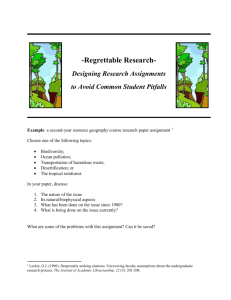 a second-year resource geography course research paper assignment