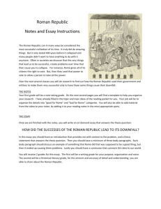Rome Essay and Notes Instructions