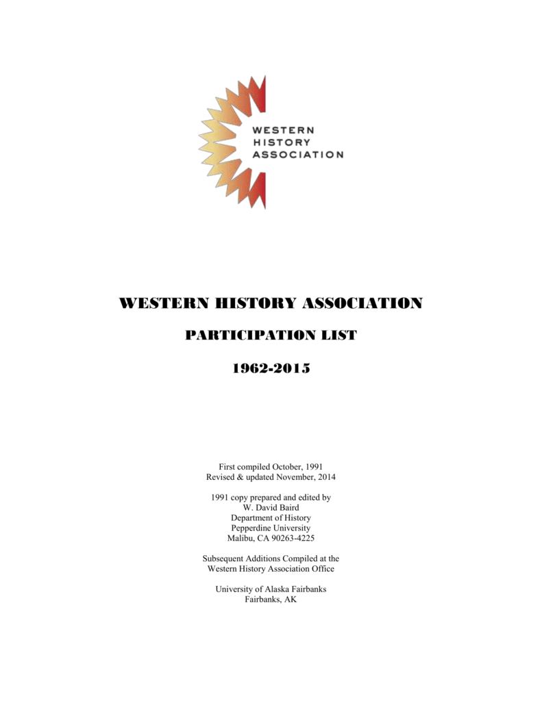 2015 Participation Index - Western History Association