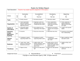 Rubric for Written Report