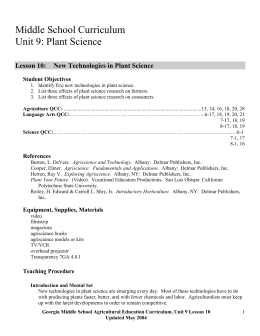 New Technologies in Plant Science