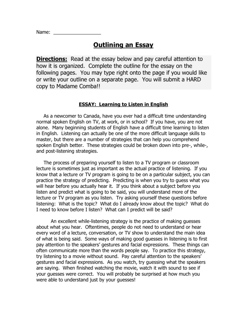 Research Paper Essay Topics  Examples Of Essays For High School also Thesis Example Essay Outlining An Essay Best English Essay