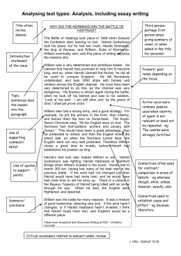 Reflective Essay Sample Paper The Battle Of Hastings Analysing Text Types Analysis Including Essay  Writing Topics For Argumentative Essays For High School also How To Write A Thesis Paragraph For An Essay Why Did William Win The Battle Of Hastings In  Card Sort Thesis For Compare Contrast Essay