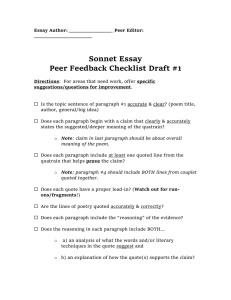 Sonnet Essay Peer Feedback Checklist Draft 1