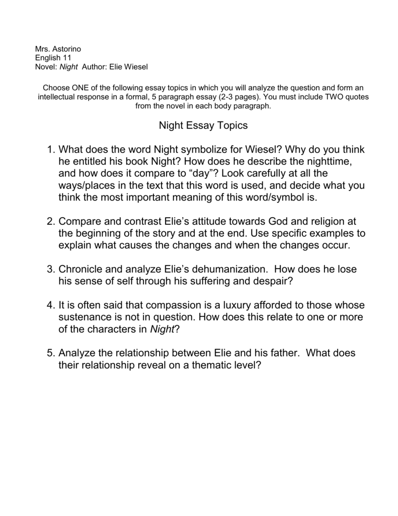 Night by elie wiesel essay topics