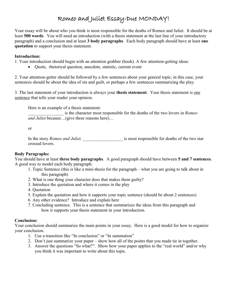 essay thesis for romeo and juliet argumentative essay topics for romeo and juliet