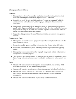 how to write an ethnography ethnographic research essay