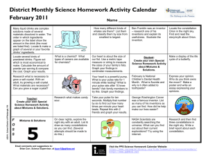 District Monthly Science Homework Activity Calendar February 2011