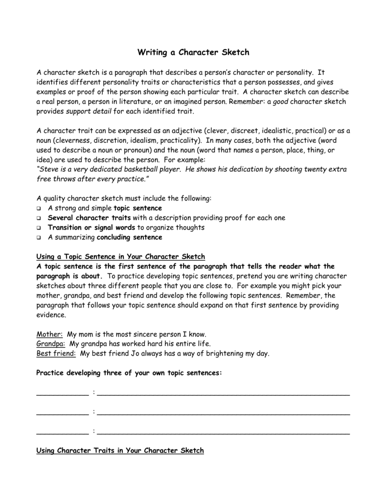 example of a character sketch features Character analysis o o o c001 objective the student will describe characters materials narrative text comprehension narrative text structure character.