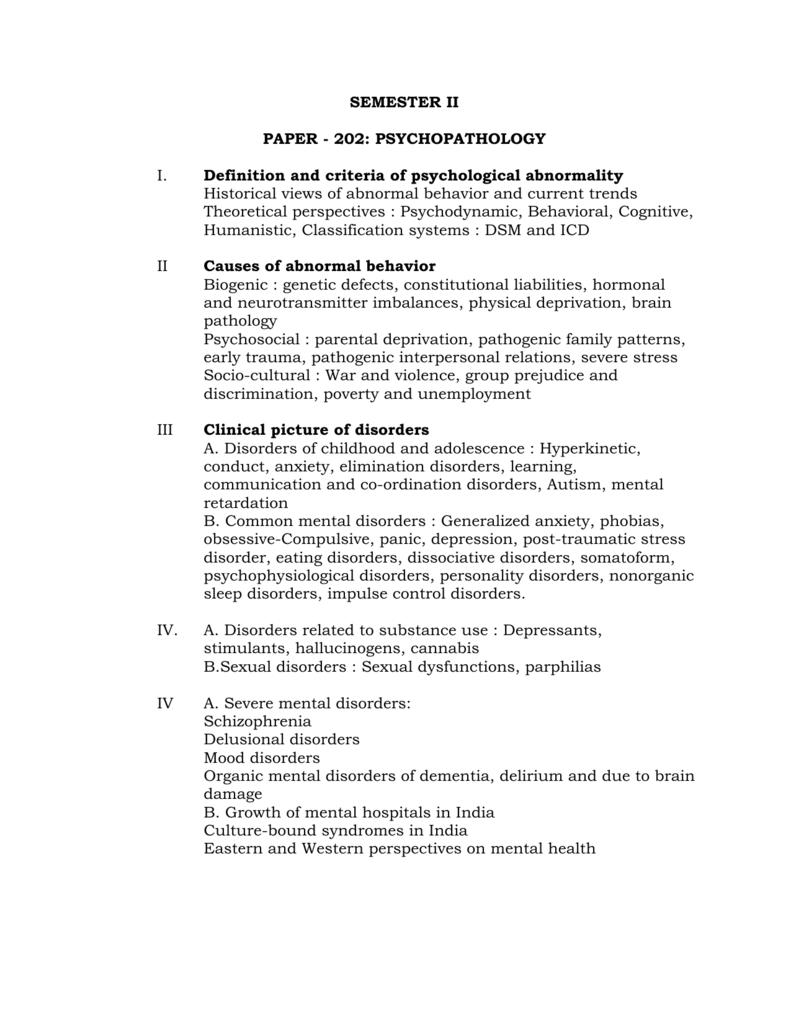 Paper 202 Psychopathology