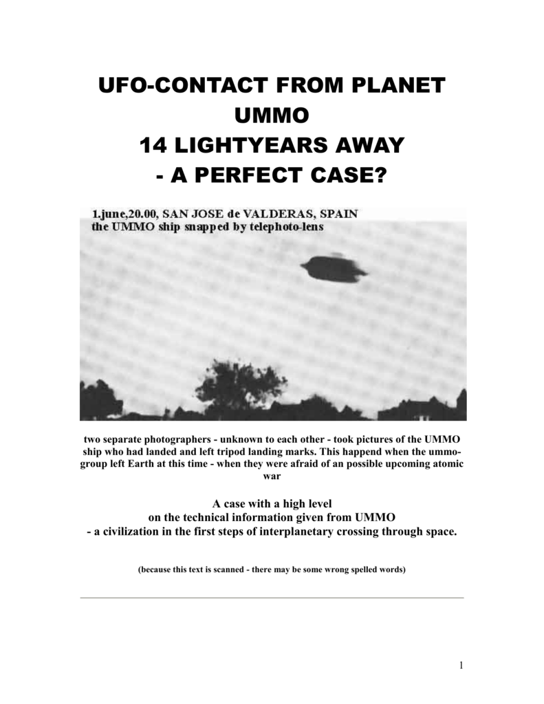 UFO-CONTACT FROM PLANET UMMO