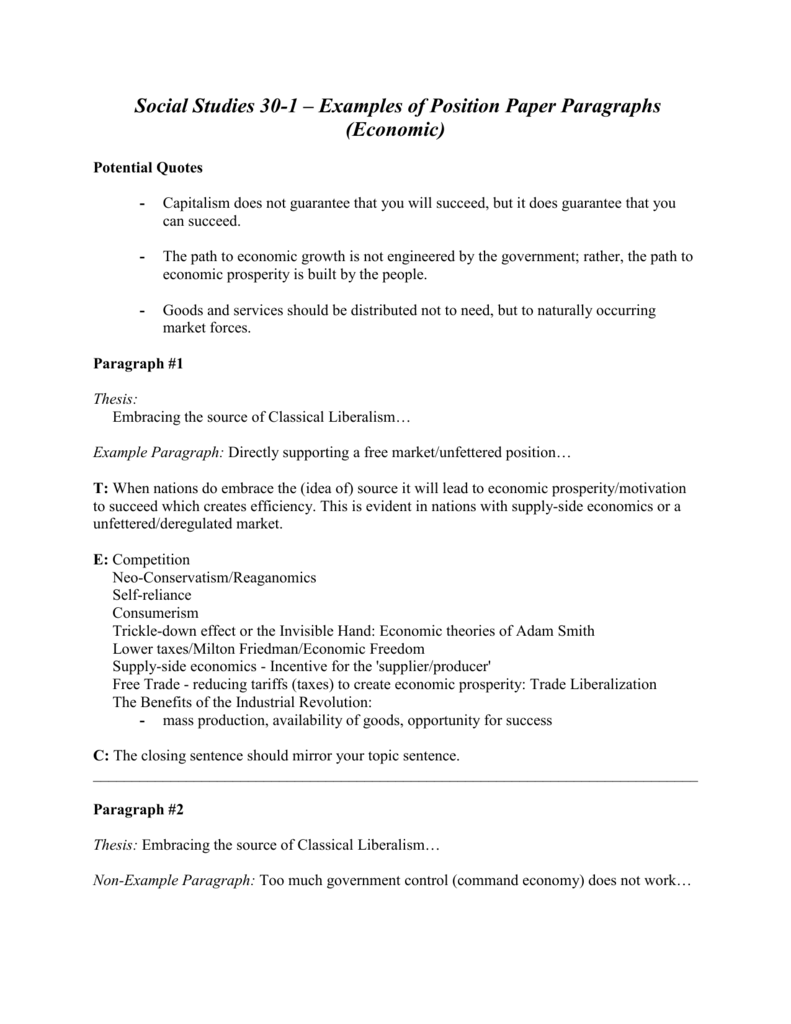 Social 30 1 Examples Of Position Paper Paragraphs Economic