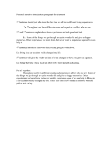Personal narrative introductory paragraph development