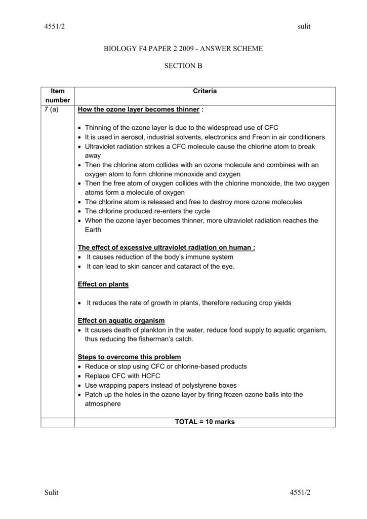 Biology Spm Paper 2 Answer Scheme