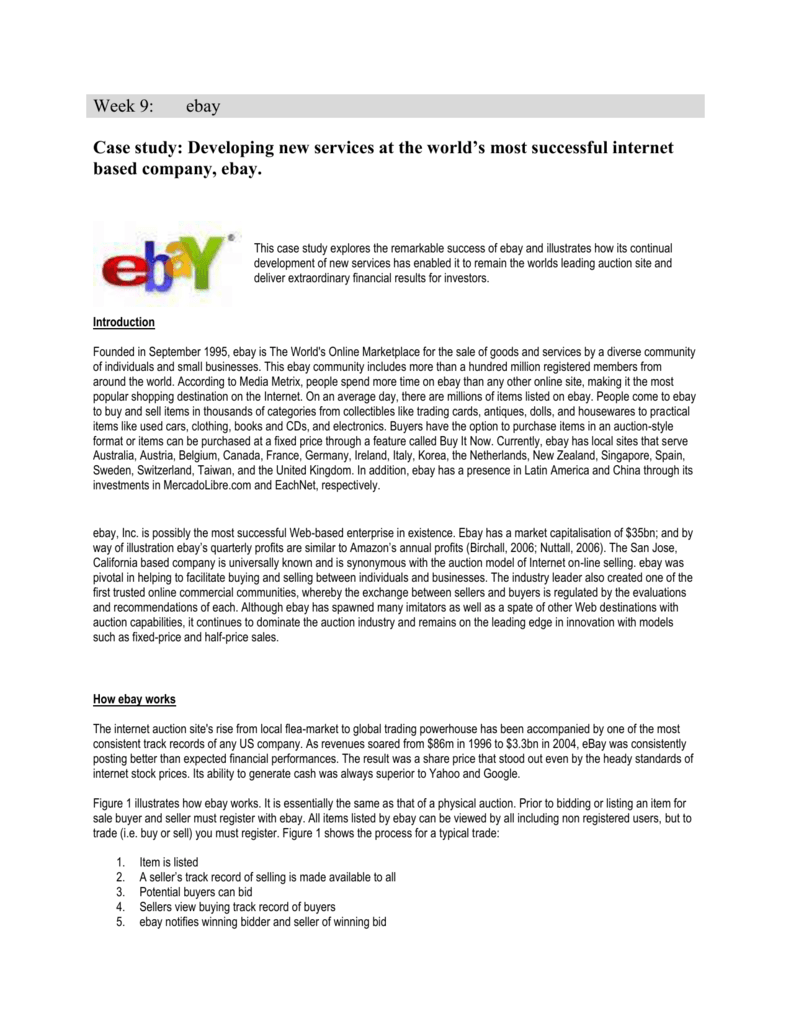 Week 9 Ebay Case Study Developing New Services At The World S