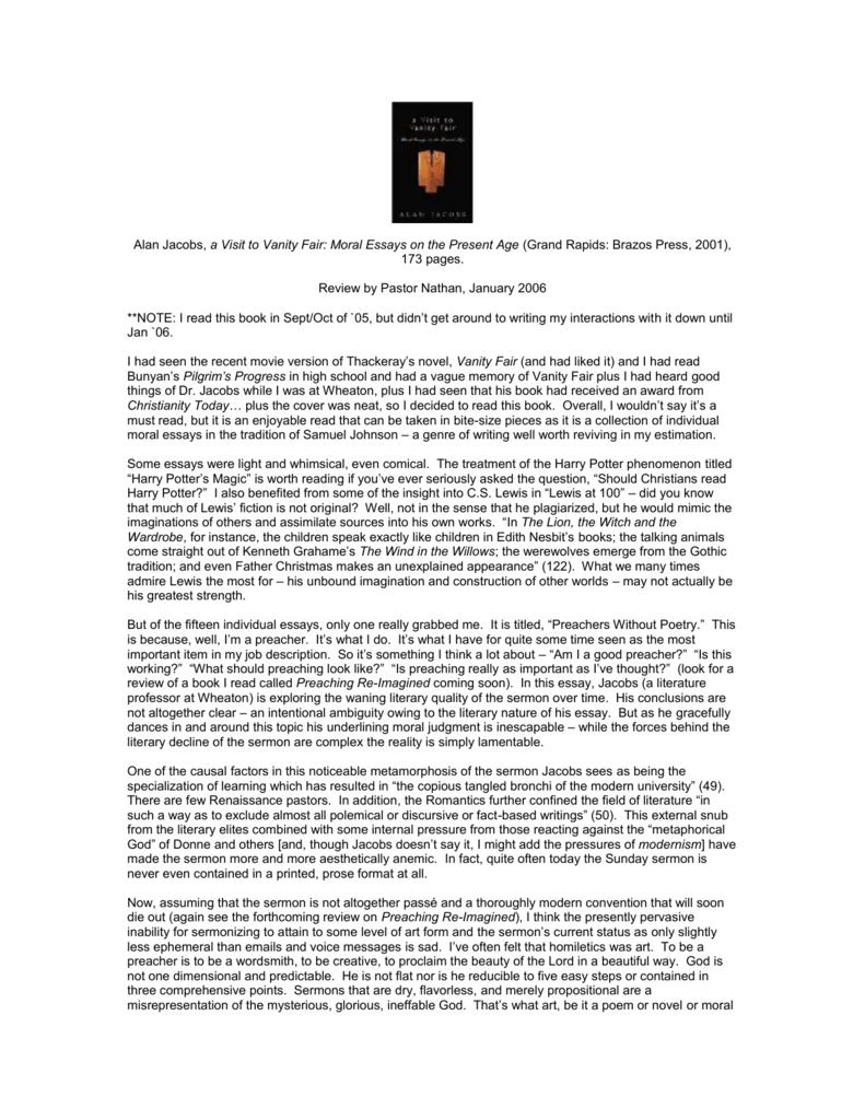 vanity fair summary and analysis