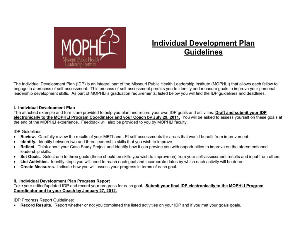 individual development plan examples leadership