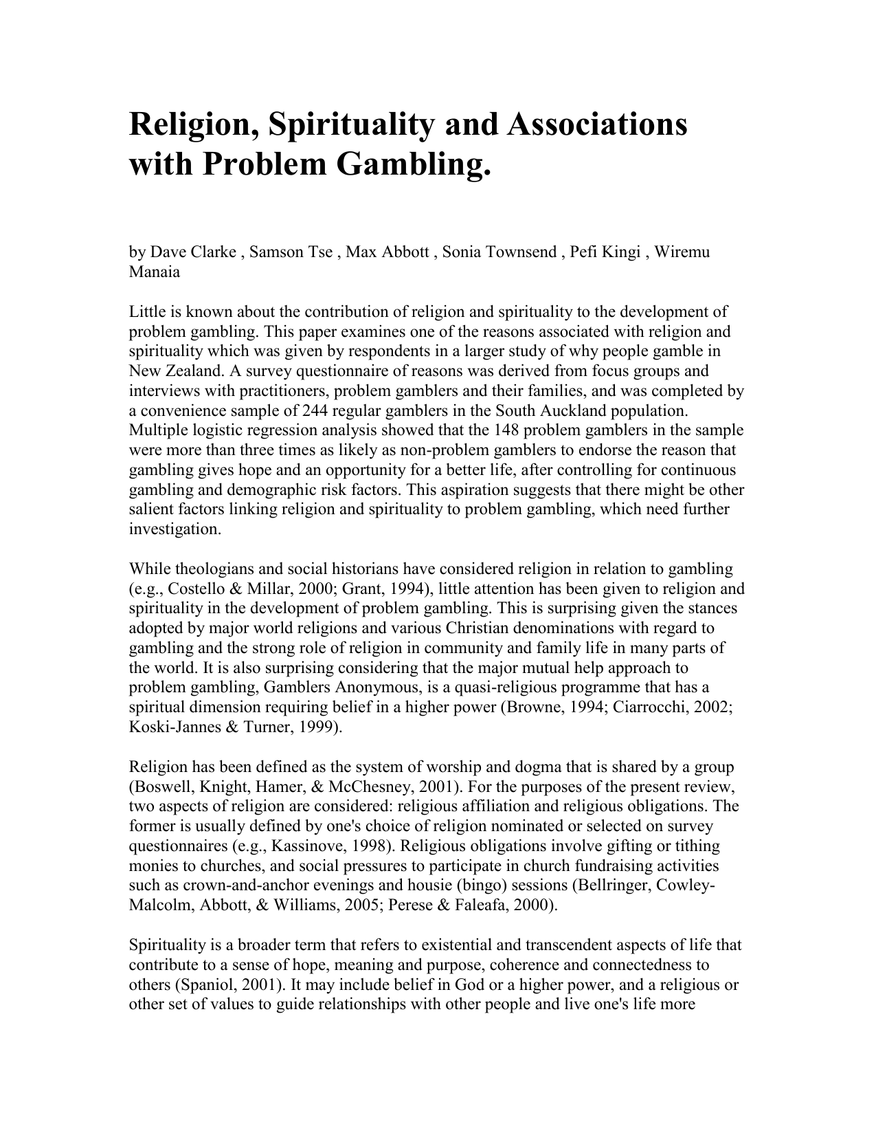 Religion spirituality and associations with problem gambling does cabo san lucas have gambling
