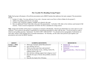 The Crucible Pre-Reading Group Project