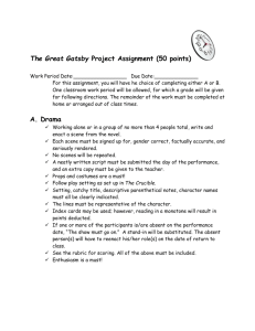 The Great Gatsby Project Assignment (50 points) Work Period Date