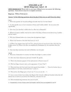 ENGLISH 12 AP QUIZ: King Lear, Acts I