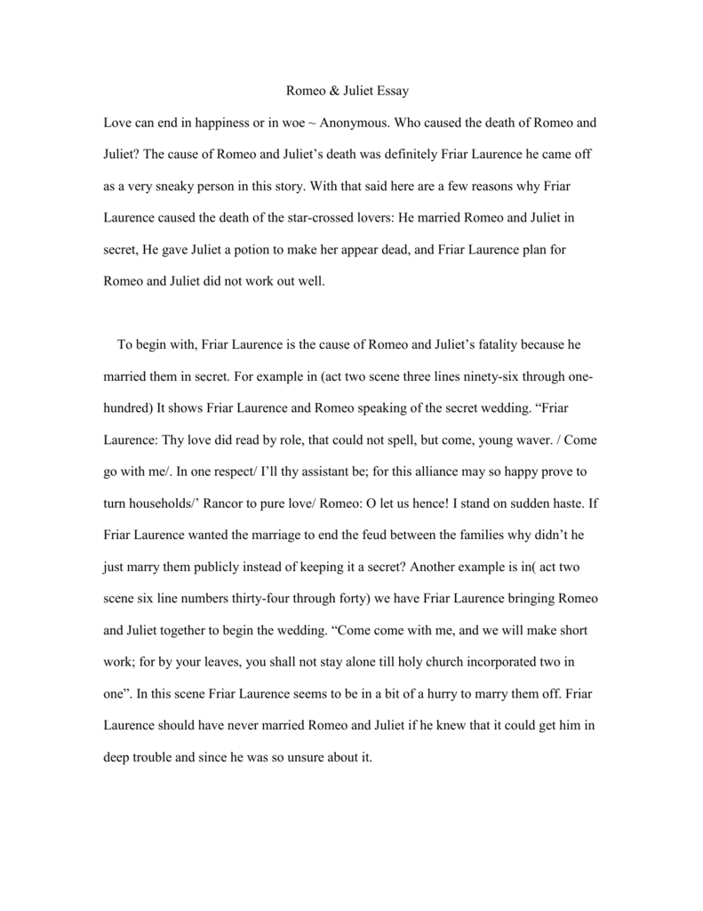 romeo juliet rough draft essay