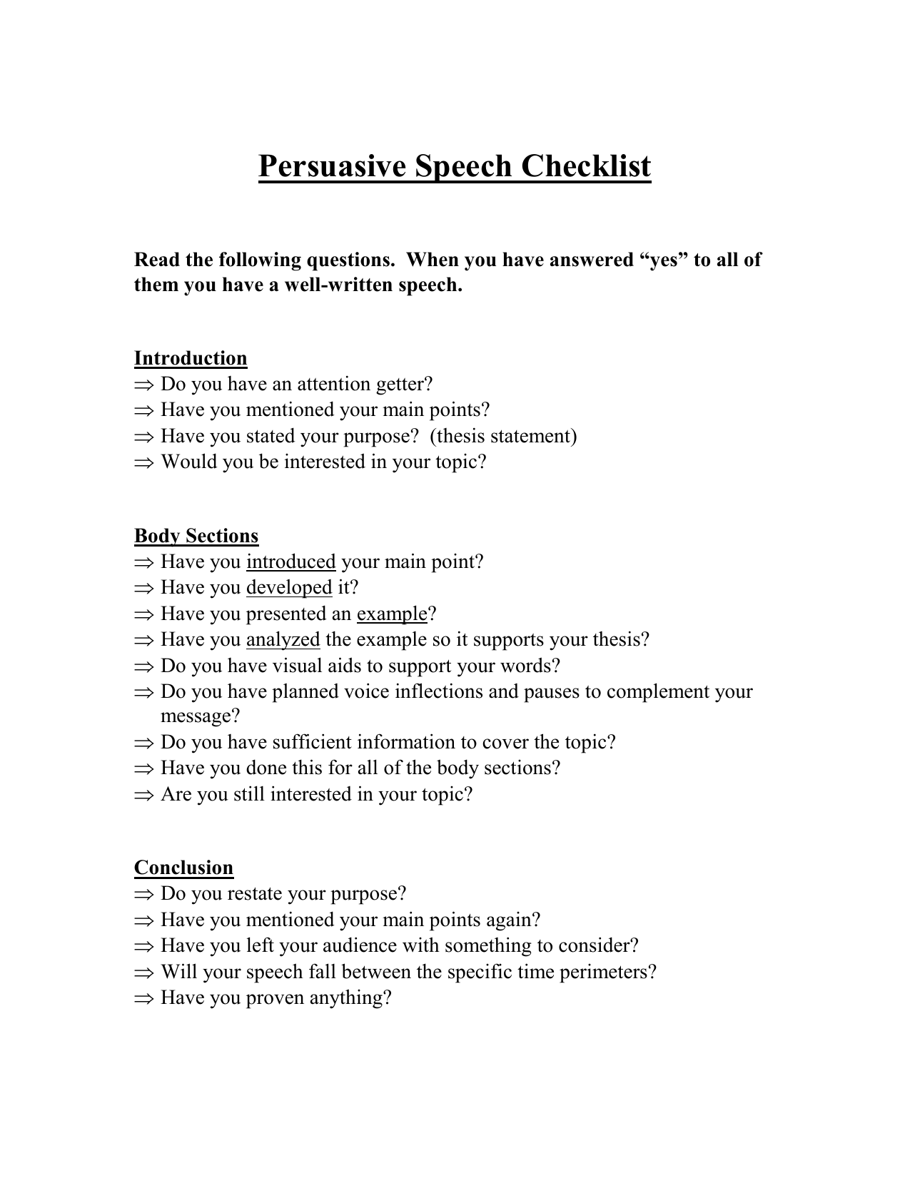 persuasive speech checklist