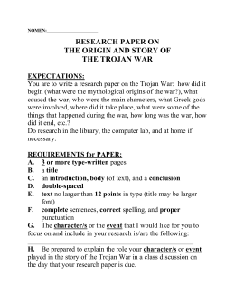 reflection paper about trojan war